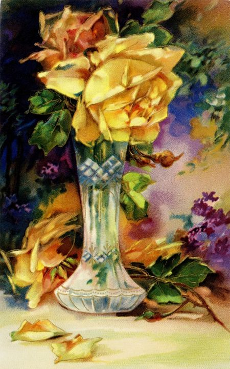 Vintage Vase and Yellow Roses - Sara Valor