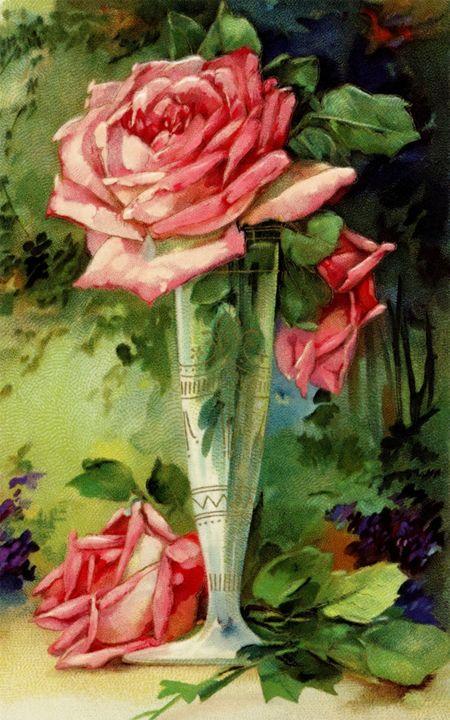 Vintage Vase and Pink Roses - Sara Valor