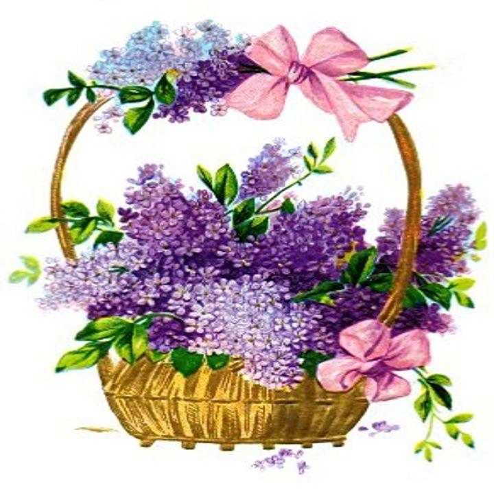 Vintage Lilacs Antique Basket - Sara Valor