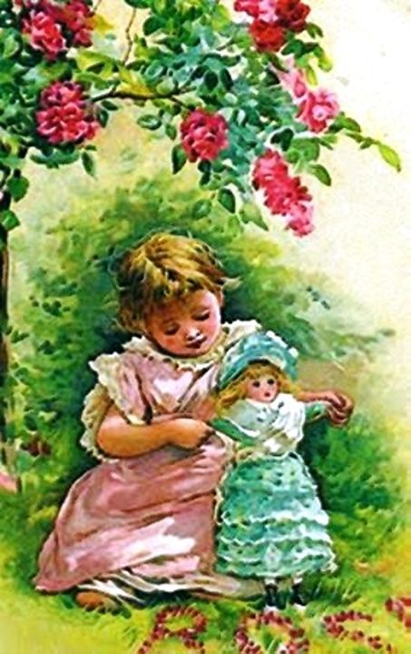 Vintage Rose Garden Girl with Doll - Sara Valor