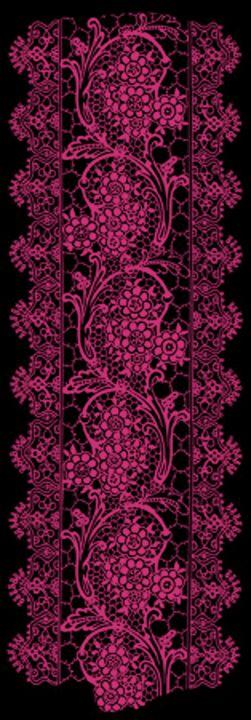 Pink Yarrow Lace on Black - Sara Valor
