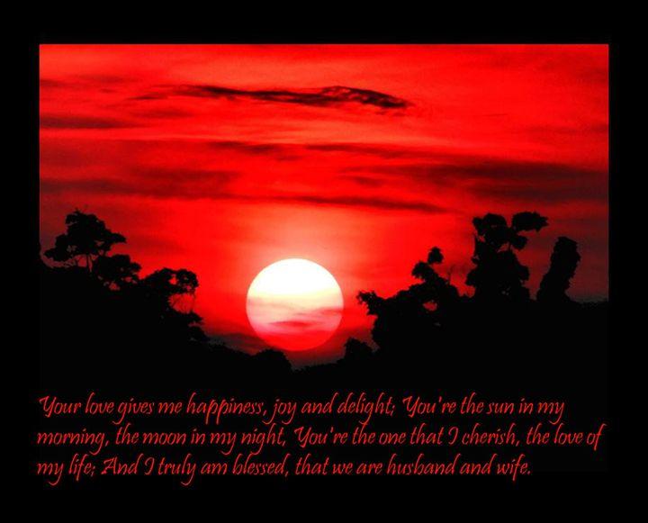Wedding Quote Blazing Red Sunset - Sara Valor