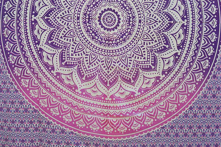 Ombre Purple Pink mandala bedsheet - Bhramishtha's Enterprises