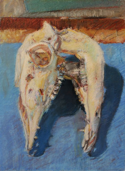Pig Skull on Blue - Duncan Rutstein