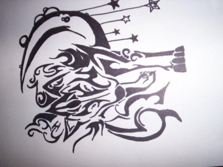 Tribal Wolf Drawing - Portrait Hart Studios