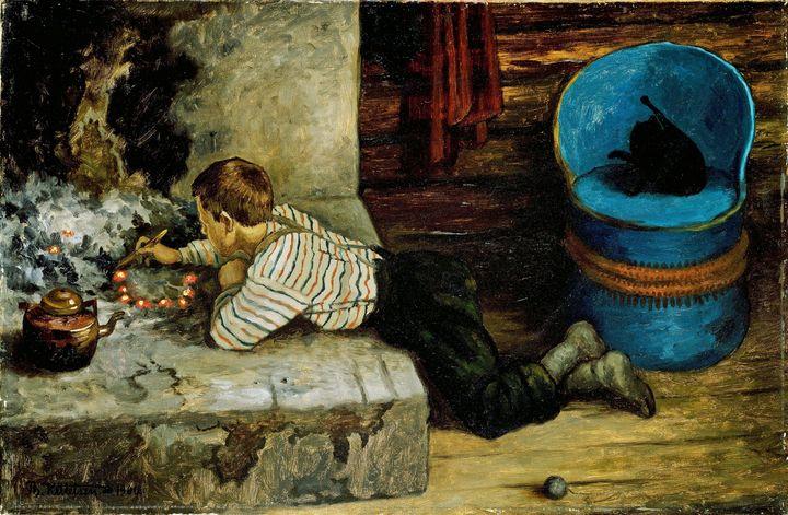 Theodor Kittelsen~The Ash Lad poking - Canvas printing