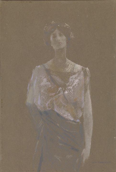 Thomas Dewing~In Rose - Canvas printing