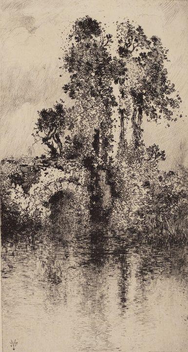 Thomas Moran~Bridge and Trees - Canvas printing