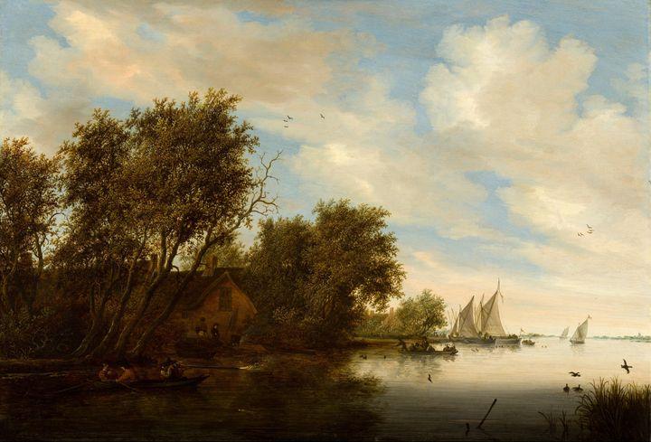 Salomon van Ruysdael~River View with - Canvas printing
