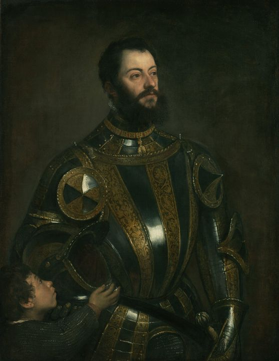 Titian~Portrait of Alfonso d'Avalos, - Canvas printing