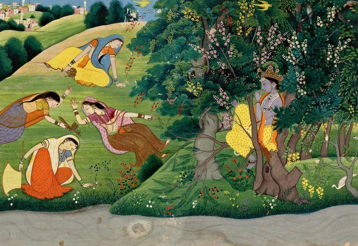 Unknown, Kangra, India~Krishna Fluti - Canvas printing