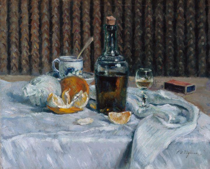 Victor Vignon~Still Life with Orange - Canvas printing