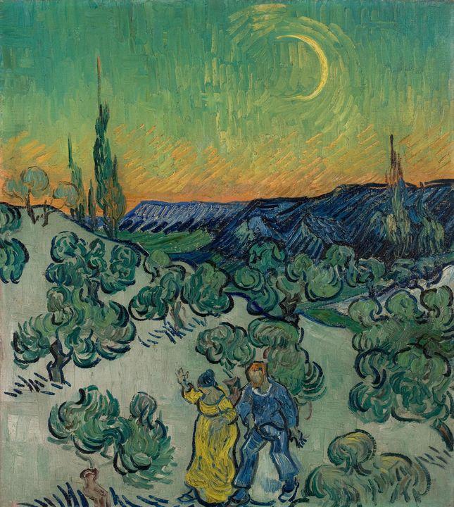 Vincent van Gogh~A Walk at Twilight - Canvas printing