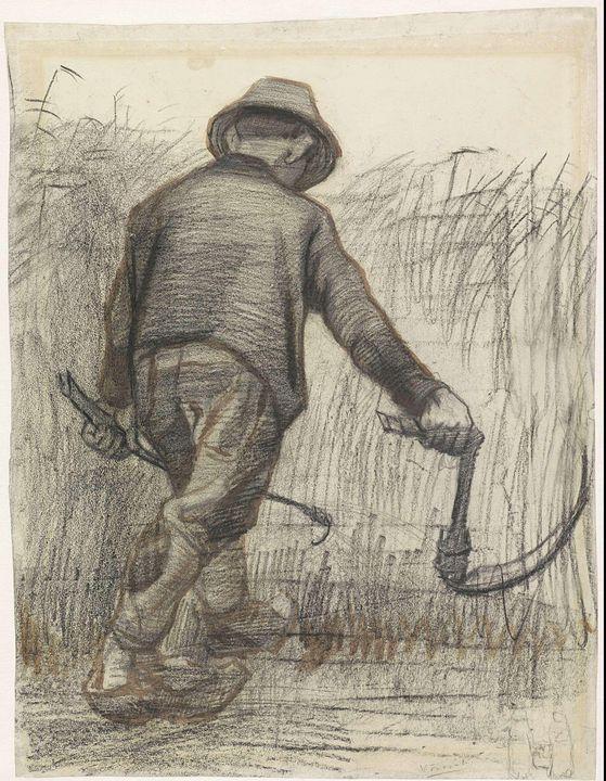 Vincent van Gogh~Korensnijder met ho - Canvas printing