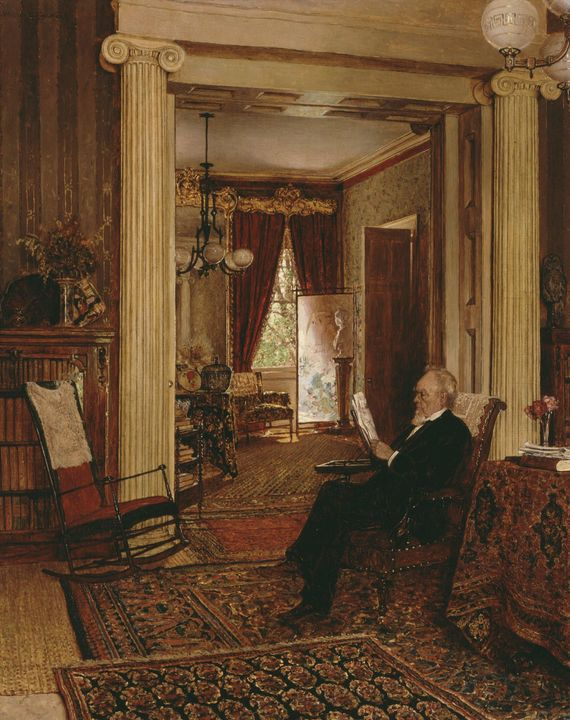 Walter Launt Palmer~Library at Arbou - Canvas printing