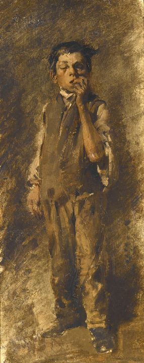 Wilhelm Busch~Boy Biting his Nails - Canvas printing