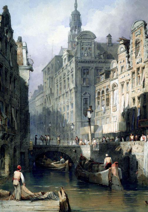 Samuel Prout~A Canal, Utrecht - Canvas printing