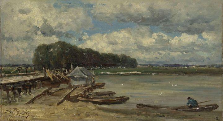 Willem Roelofs~De brug over de IJsse - Canvas printing