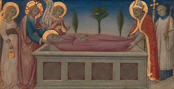 Sano di Pietro~The Burial of Saint M - Canvas printing