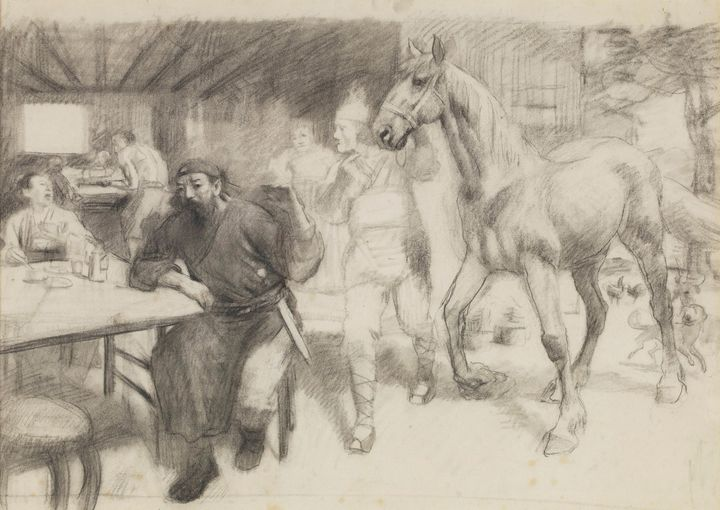 Xu Beihong~Draft for Qin Qiong Selli - Canvas printing