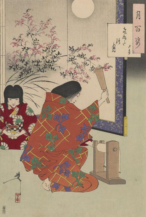 Yoshitoshi~Cloth-beating moon Yugiri - Canvas printing