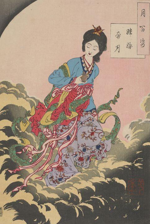 Yoshitoshi~Chang'e flees to the moon - Canvas printing