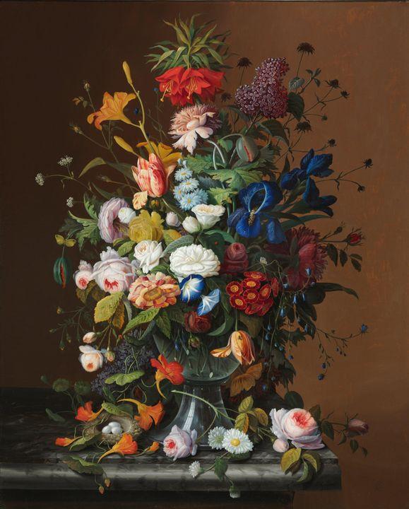 Severin Roesen~Flower Still Life wit - Canvas printing