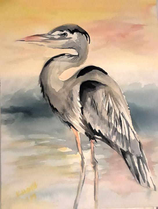 Gray Heron - Kristal Melody Art
