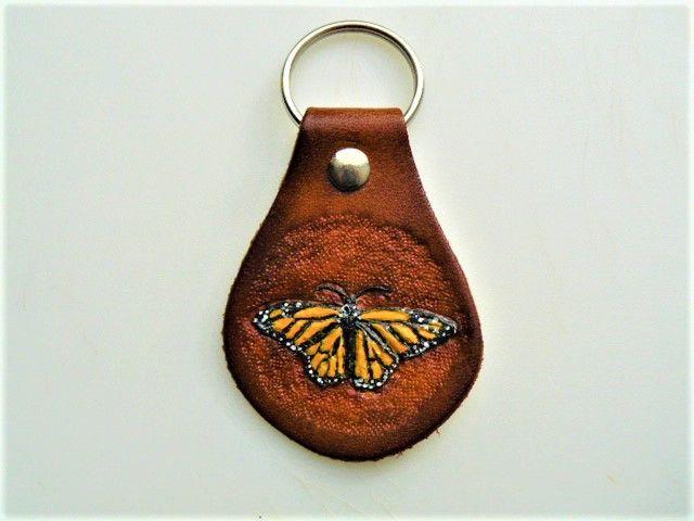 Monarch Butterfly Leather Key Chain - B Bradford Art