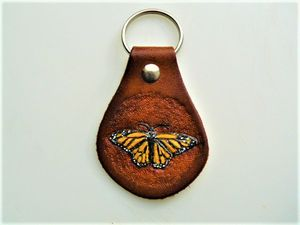 Monarch Butterfly Leather Key Chain - B Bradford Art