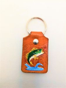 Jumping Bass Leather Key Chain - B Bradford Art