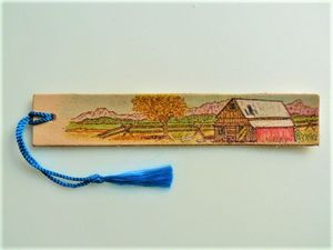 Old Barn Leather Pyrography Bookmark