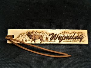 Leather Bugling Elk Bookmark - B Bradford Art