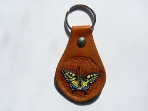 Dovetail Butterfly Leather Key Chain - B Bradford Art