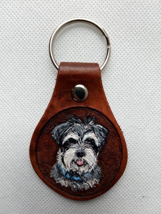 Schnauzer Key Chain-Sold - B Bradford Art