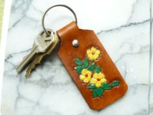 Floral Leather Key Chain