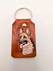 German Shepard Leather Key Chain - B Bradford Art