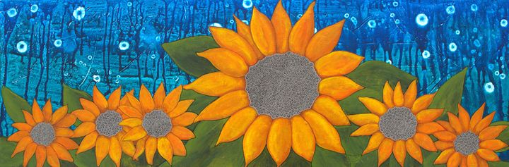 Moonlit Sunflowers - My Painted Path