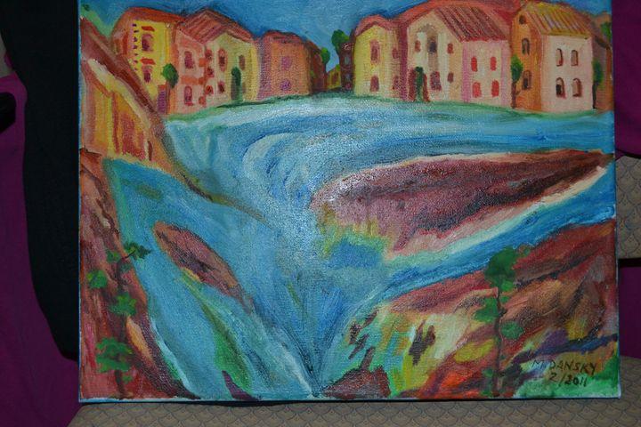 Town Near Falls - Montreal Artist