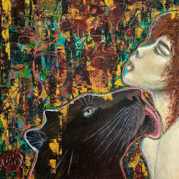 Portrait of a woman with a cat. - IrinaPetreArt
