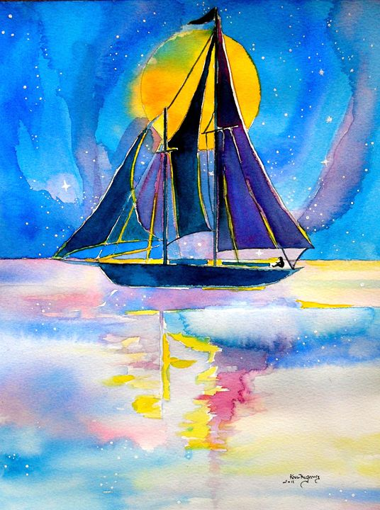 moonlight sailing..... - Kevin's art gallery