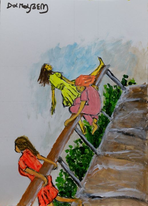 Three girls on the bridge - Darabem artist