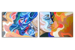 Abstract oil painting Diptych