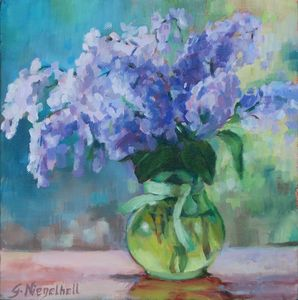 Lilacs in Green Glass Vase