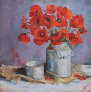 Poppies in Milk Can