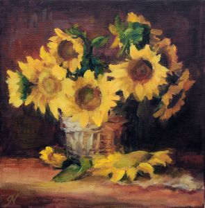 Sunflowers in Wicker Basket