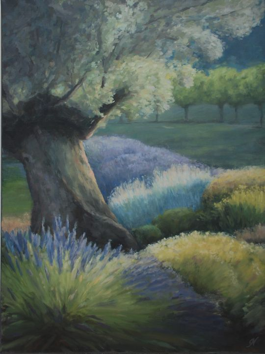 Olive Tree and Lavender II - Gabriele Niegelhell