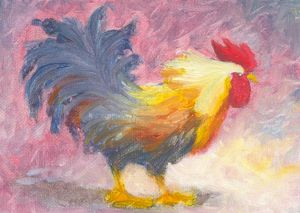 Colorful Rooster Oil Painting