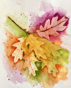 Colorful Oak Leaves Watercolor