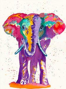 Rainbow Elephant - Deborah League Fine Art
